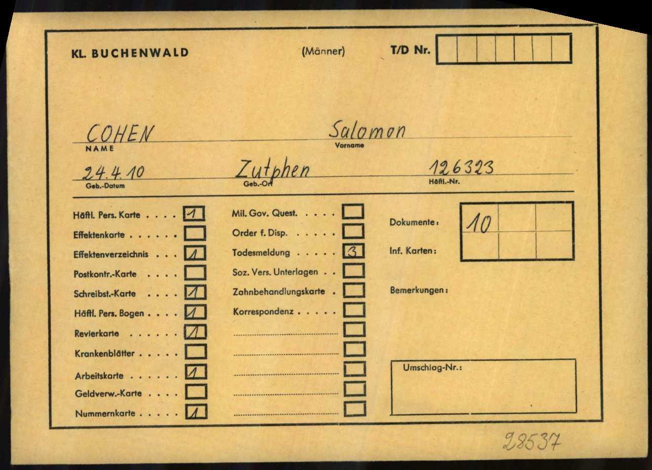 Persoonskaart Buchenwald